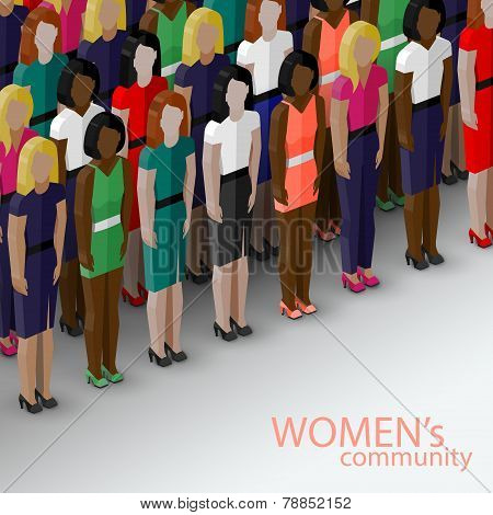 vector 3d isometric  illustration of women community with a large group of girls and women. feminist
