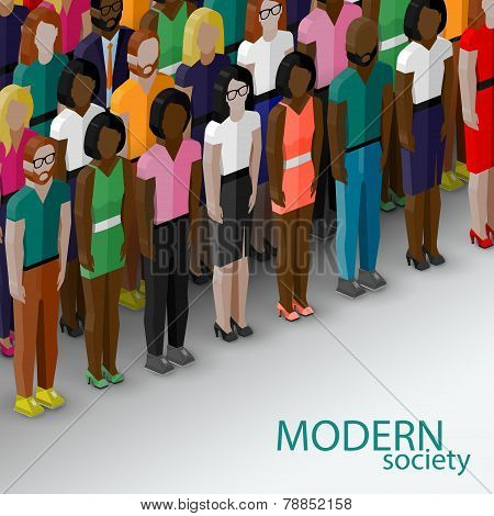 vector 3d isometric  illustration of society members with a large group of men and women. population