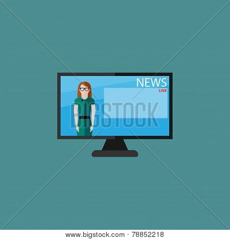 vector flat  illustration of female TV newscaster. breaking news