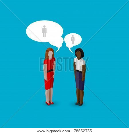 vector 3d isometric cartoon illustration of women or girls characters. business infographic or adver