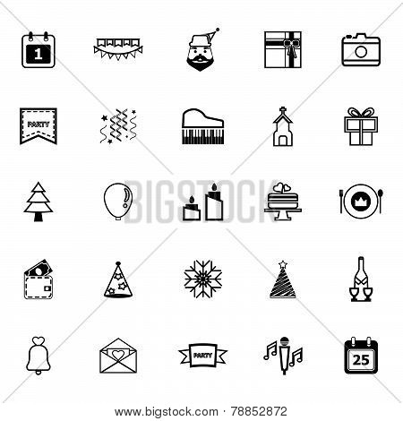 Christmas And New Year Line Icons On White Background