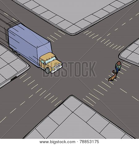 Truck Speeding And Person On Street