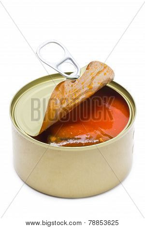 Can Open With Mackerel And Tomatoes Sauce Inside.isolated On White.