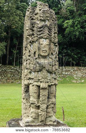 Carved stone stella, Copan, Guatemala