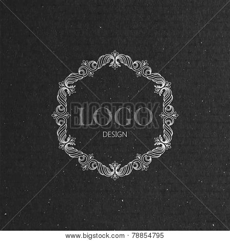 vector illustration with floral frame on cardboard texture. graceful line art logo design element