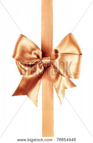 light brown bow made from silk ribbon isolated