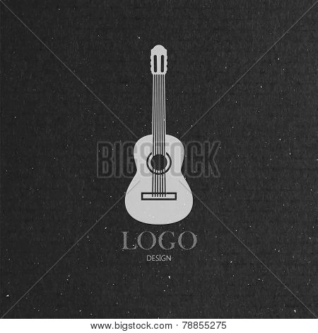 vector illustration with the guitar on cardboard texture. music logo design