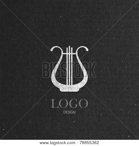 vector illustration with the harp on cardboard texture. music logo design