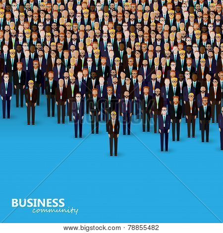 vector flat illustration of business or politics community. a crowd of business men or politicians w