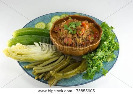 Nam Prik Aong (thai Name) (northern Thai Meat And Tomato Spicy Dip). Restaurant's Famous Northern Th