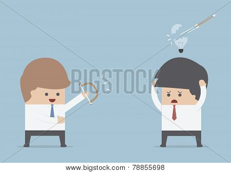 Businessman Destroy Others Idea By The Bow And Arrow