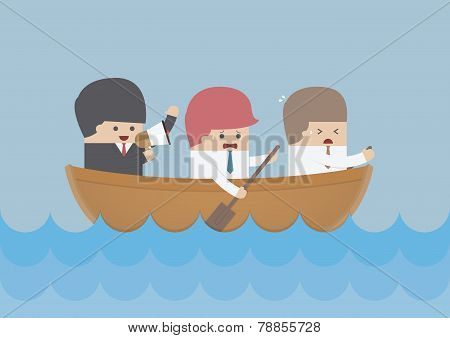 Businessman Rowing Team, Teamwork And Leadership Concept