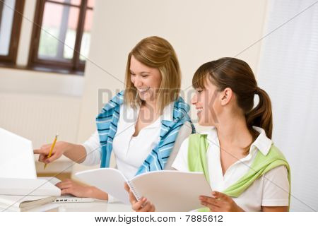 Student At Home - Two Happy Woman With Laptop