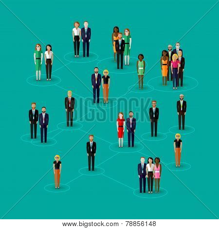 vector flat illustration of society members with  men and women. population. social network concept.
