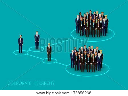 vector flat illustration of a corporate hierarchy structure. a a crowd of business men or politician