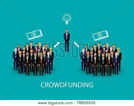 vector flat illustration of an infographic crowdfunding concept. a group of business men wearing sui