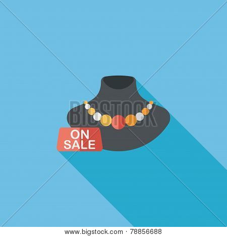 Shopping Sale Jewelry Flat Icon With Long Shadow,eps10