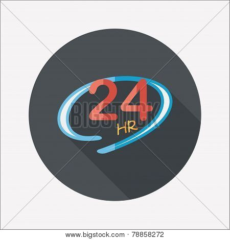 24 Hours Shop Open Flat Icon With Long Shadow,eps10