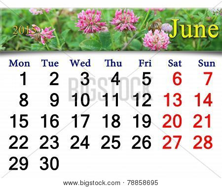 Calendar For The June Of 2015 With Flowers Of Clover
