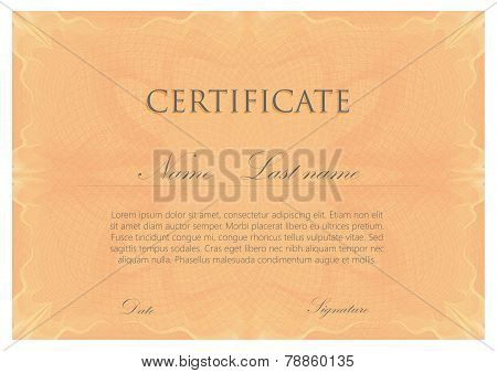 vector template design of certificate with guilloche pattern, watermarks