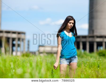 Sexy Lady In An Industrial Background