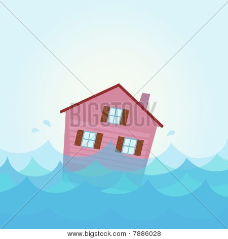 Nature disaster: House flood - home flooding under water