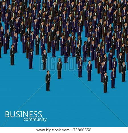 vector 3d isometric illustration of business or politics community. a crowd of business men or polit