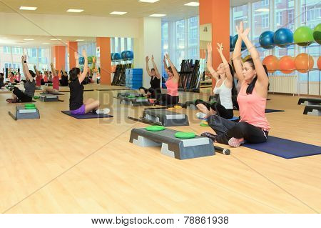 Rostov On Don - January 05: Beautifull Female On The Step Board During Yoga Exercise, Fitness Center