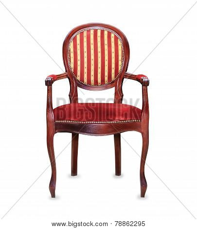 Vintage Classic Red Armchair Isolated Over White