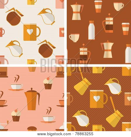 Set of seamless patterns with coffee items