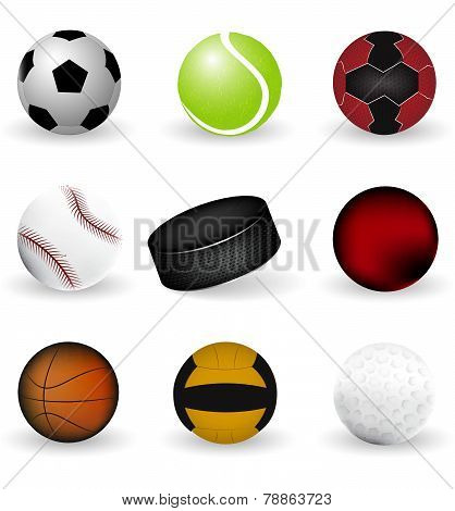 Sport icons balls and puck