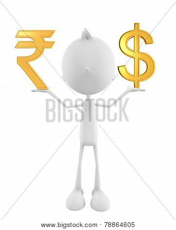 White Character With Rupee And Doller Sign