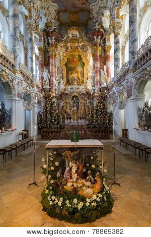 ALLGÄU, GERMANY, DECEMBER 2012: Pilgrimage Church of Wies (Wieskirche) at Christmas time