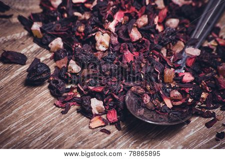 Black Tea Leafs With Fruits