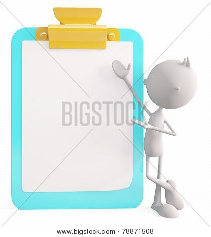 White Character With Writing Pad