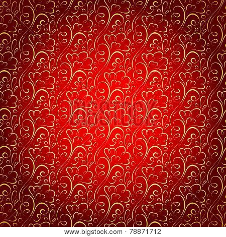 Vector Gold Floral Pattern On Claret Celebratory Background.