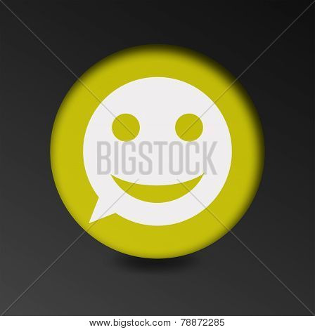 merry face sign icon. Round button speech bubble.