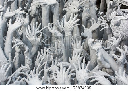 Devil's Hands From Hell, One Of Many Beautiful Decorations In Rong Khun Temple