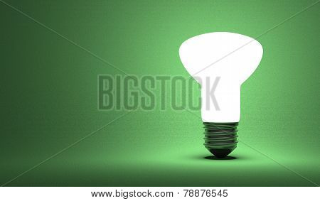 Shining Ellipsoidal Light Bulb On Green