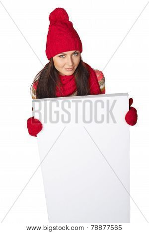 Winter woman with blank banner