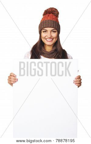 Winter woman with white banner