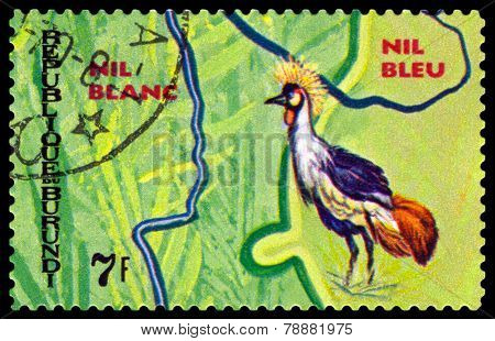 Vintage  Postage Stamp. Animals Burundi, Nil Blue.