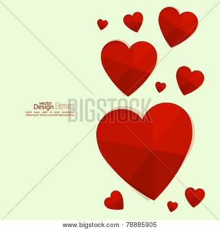 Abstract background with red and white hearts.