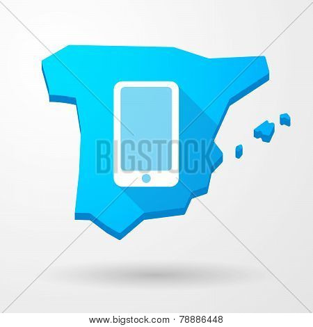 Spain Map Icon With A Phone