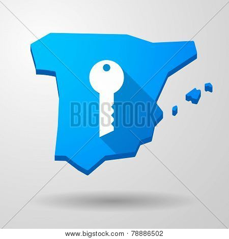 Spain Map Icon With A Key