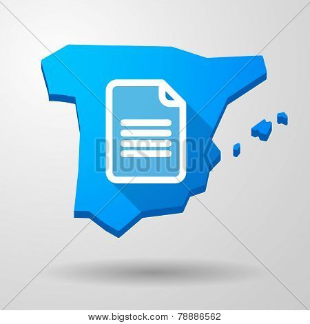 Spain Map Icon With A Document