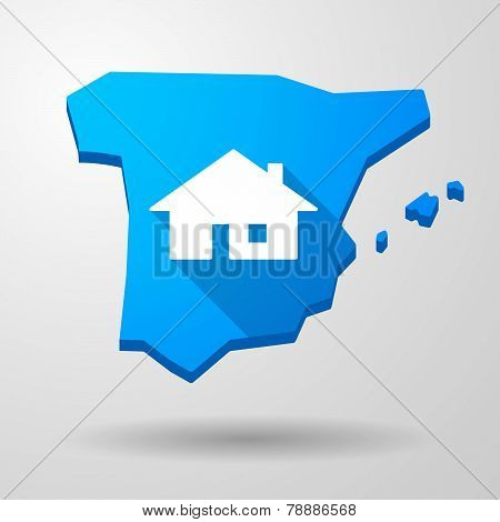 Spain Map Icon With A House