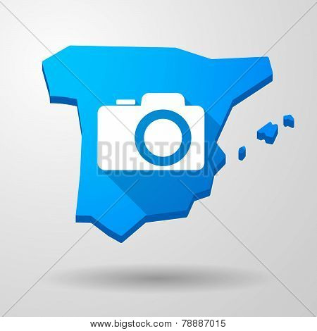 Spain Map Icon With A Photo Camera