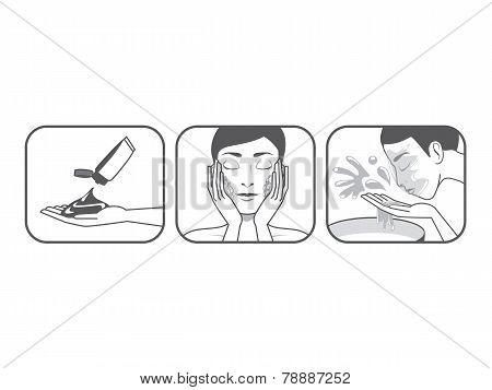 Women Wash Face Cartoon Outline