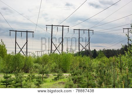 Timber Supports High-voltage Line